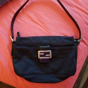 Fendi Black shoulder bag/ Baguette Silver Hardware